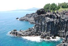 Den Jusangjeolli kustlinjen på den Jeju ön Arkivfoto