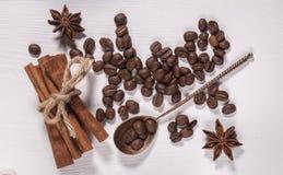 Den kaffebönorna och kanelen Royaltyfri Fotografi