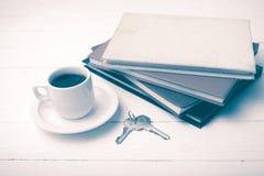 Den kaffekoppen, tangenten och bunten av boktappning utformar Arkivbild
