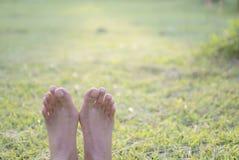 Den kala foten av kvinnan ligger på grönt gräs för att koppla av, kopieringsutrymme Arkivbild