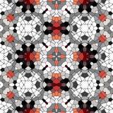 Den kalejdoskopiska modellen för den mosaikröd-svart-vit tegelplattan gjorde sömlöst Royaltyfri Illustrationer