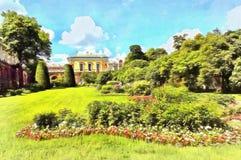 Den kalla badpaviljongen och trädgården framme av den stock illustrationer