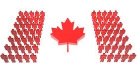 den kanadensiska flaggan gör folk Royaltyfria Bilder