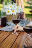 Den kantjusterade bilden av kvinnor som utomhus sitter i, parkerar att dricka vin Arkivfoton