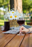 Den kantjusterade bilden av kvinnor som utomhus sitter i, parkerar att dricka vin Arkivfoto