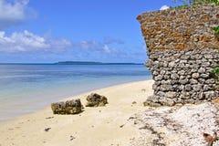 Den Kanumera fjärden, ö av sörjer, Nya Kaledonien Arkivfoton