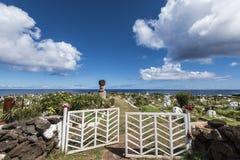 Den karakteristiska kyrkogården av Hanga Roa arkivfoton