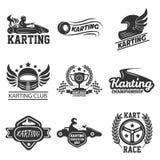 Den Karting klubban eller kart springer uppsättningen för symboler för sportvektormallen royaltyfri illustrationer