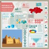 Den Kasakhstan infographicsen, statistiska data, siktar vektor illustrationer
