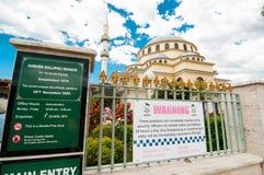 Den kastanjebruna Gallipoli moskén är enstil moské i kastanjebrunt, en förort av Sydney arkivfoton