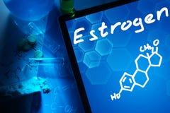 Den kemiska formeln av östrogen arkivbilder