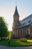 Den Kenigsberg domkyrkan är det huvudsakliga symbolet av staden Kaliningrad fotografering för bildbyråer