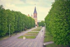 Den Kenigsberg domkyrkan är det huvudsakliga symbolet av staden Kaliningrad arkivfoto