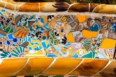 Den keramiska bänken parkerar Guell - Barcelona Spanien Arkivfoton