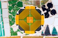 Den keramiska bänken parkerar Guell - Barcelona Spanien Royaltyfri Fotografi