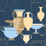 Den keramiska etniska medborgaregreken utformar seamless mönstrar Royaltyfri Foto