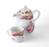 Den keramiska kaffekrukan och kuper Royaltyfri Bild