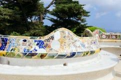Den keramiska mosaiken parkerar Guell Royaltyfri Foto