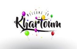 Den Khartoum välkomnandet som ska smsas med färgrika ballonger, och stjärnor planlägger stock illustrationer