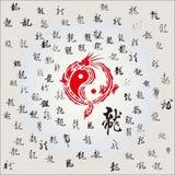 Den kinesiska draken och kalligrafin Arkivfoto