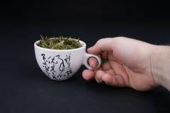 den kinesiska koppen fyllde grön tea Royaltyfria Foton