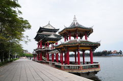 Den kinesiska paviljongen i Jimei skolaby i Xiamen Royaltyfri Foto