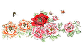 Den kinesiska traditionella distingerade ursnygga dekorativa hand-målade färgpulverpionen blommar Fotografering för Bildbyråer