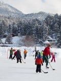 den kiting floden skidar snöig sportvinter Fotografering för Bildbyråer