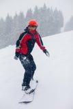 den kiting floden skidar snöig sportvinter Royaltyfri Foto