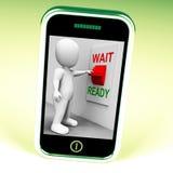 Den klara väntanströmbrytaretelefonen betyder förberett och att vänta Royaltyfria Foton