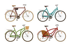 Den klassiska cykeln, ställde in symboler Retro cykel, cirkulering, transport den främmande tecknad filmkatten flyr illustrationt royaltyfri illustrationer