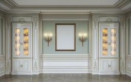 Den klassiska inre i oliv färgar med träväggpaneler, ställer ut, lampetter och ramen framförande 3d Royaltyfria Bilder
