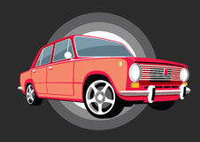 Den klassiska Italien sovjetiska USSR bilen med legeringen rullar Arkivfoto