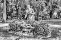 Den klassiska springbrunnen i villan Borghese parkerar, Rome Arkivbild