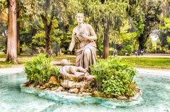 Den klassiska springbrunnen i villan Borghese parkerar, Rome Arkivfoton