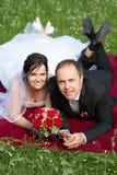 den klassiska ståenden för par gifta sig nytt Fotografering för Bildbyråer