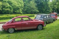 Den klassiska svenska bilen Saab parkerade Arkivfoton