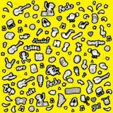 Klottrad musikalisk symbolssamling i svartvitt stock illustrationer