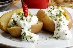 den kokt ostmassautgångspunkten gjorde potatisen royaltyfri bild