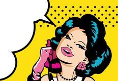Den komiska förälskelsevektorillustrationen av leendekvinnan vänder mot samtal vid ph Royaltyfria Foton