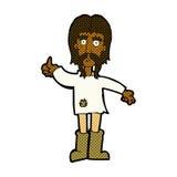 den komiska tecknad filmhippiemannen som ger tummar, up symbol Fotografering för Bildbyråer