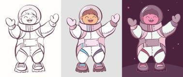 Den komiska tecknad filmkosmonautuppsättningen, vektorillustration färgade och för att färga Royaltyfri Foto