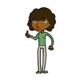 den komiska tecknad filmkvinnan som ger tummar, up symbol Royaltyfria Foton