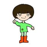 den komiska tecknad filmpojken i fattiga kläder som ger tummar, up symbol Royaltyfria Foton