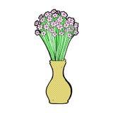 den komiska tecknade filmen blommar i kruka Arkivfoto