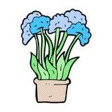 den komiska tecknade filmen blommar i kruka Arkivbild