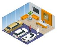 Den kommersiellt färgglade bilställningen i bil shoppar royaltyfri illustrationer