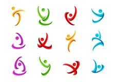 Den kondition-, logo-, folk-, aktiv-, symbol-, hälso-, sport-, wellness-, yoga- och kroppvektorsymbolen planlägger stock illustrationer