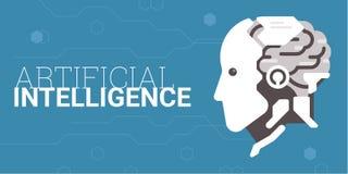den konstgjorda hjärnan circuits mainboard för elektronisk intelligens för begrepp över vektor illustrationer
