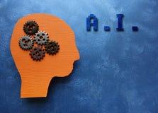 den konstgjorda hjärnan circuits mainboard för elektronisk intelligens för begrepp över Arkivbild